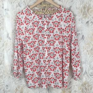 Jane & Delancey L button up cherry blouse NWT